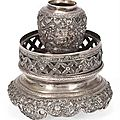 A Chinese or Vietnamese silver opium lamp, 19th-20th century 