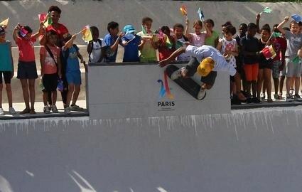 Chelles, juin 2017. La municipalité et l'association Tribe Skateboard club ont décidé l'agrandissement du « bowl » du skatepark Cosa Nostra afin d'appuyer la candidature de l'équipement pour accueillir les épreuves de skate aux JO 2024. Cosa Nostra.
