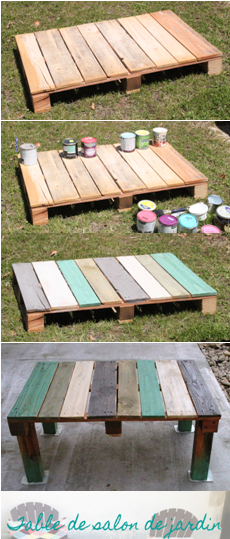 Vive la r cup la table basse de jardin en palette diy for Creer une table de jardin