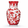 A carved red-overlay white glass vase, Qing dynasty, 19th century