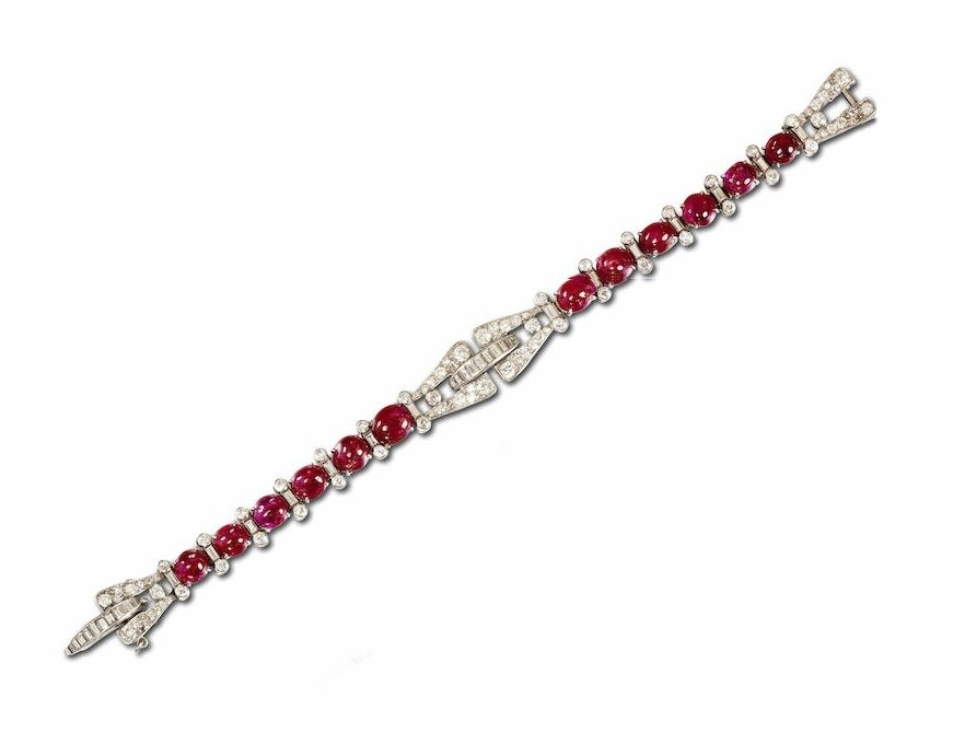 An Art Deco ruby and diamond bracelet, by Drayson, circa 1930
