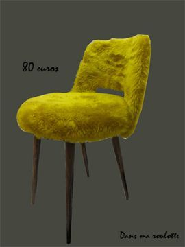 Fauteuil peluche moutarde