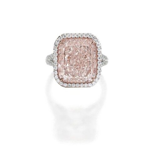 Important Platinum, 18 Karat Rose Gold, Fancy Light Pink Diamond and Diamond Ring
