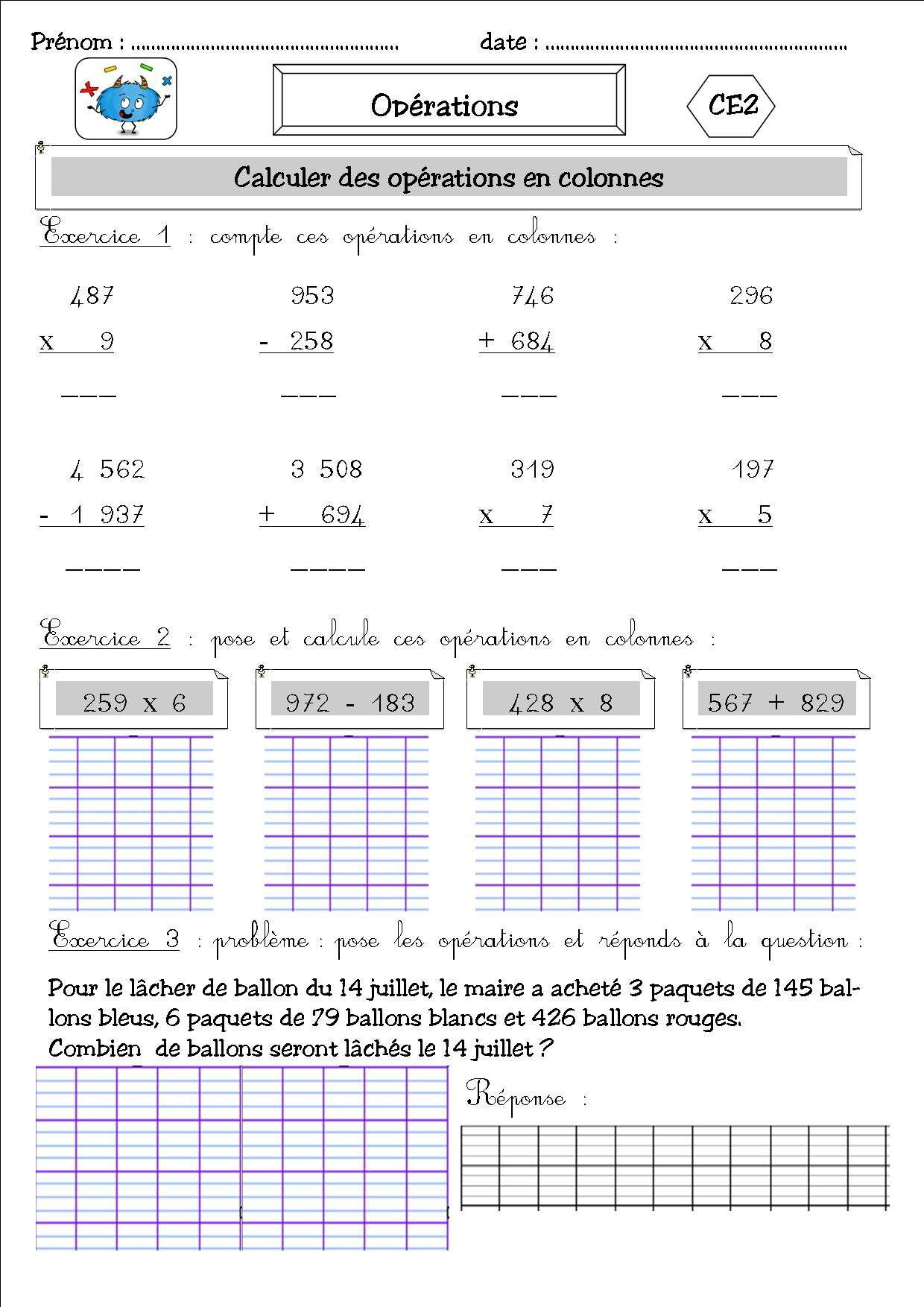 Multiplication op ration multiplication ce2 ateliers for Calcul multiplication ce2
