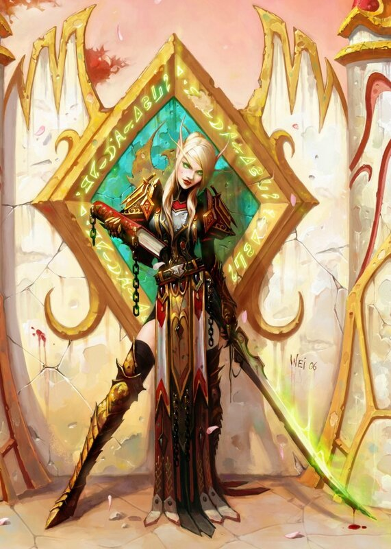 Blood-Elf-Female-Paladin-By-Wei-Wang2-731x1024