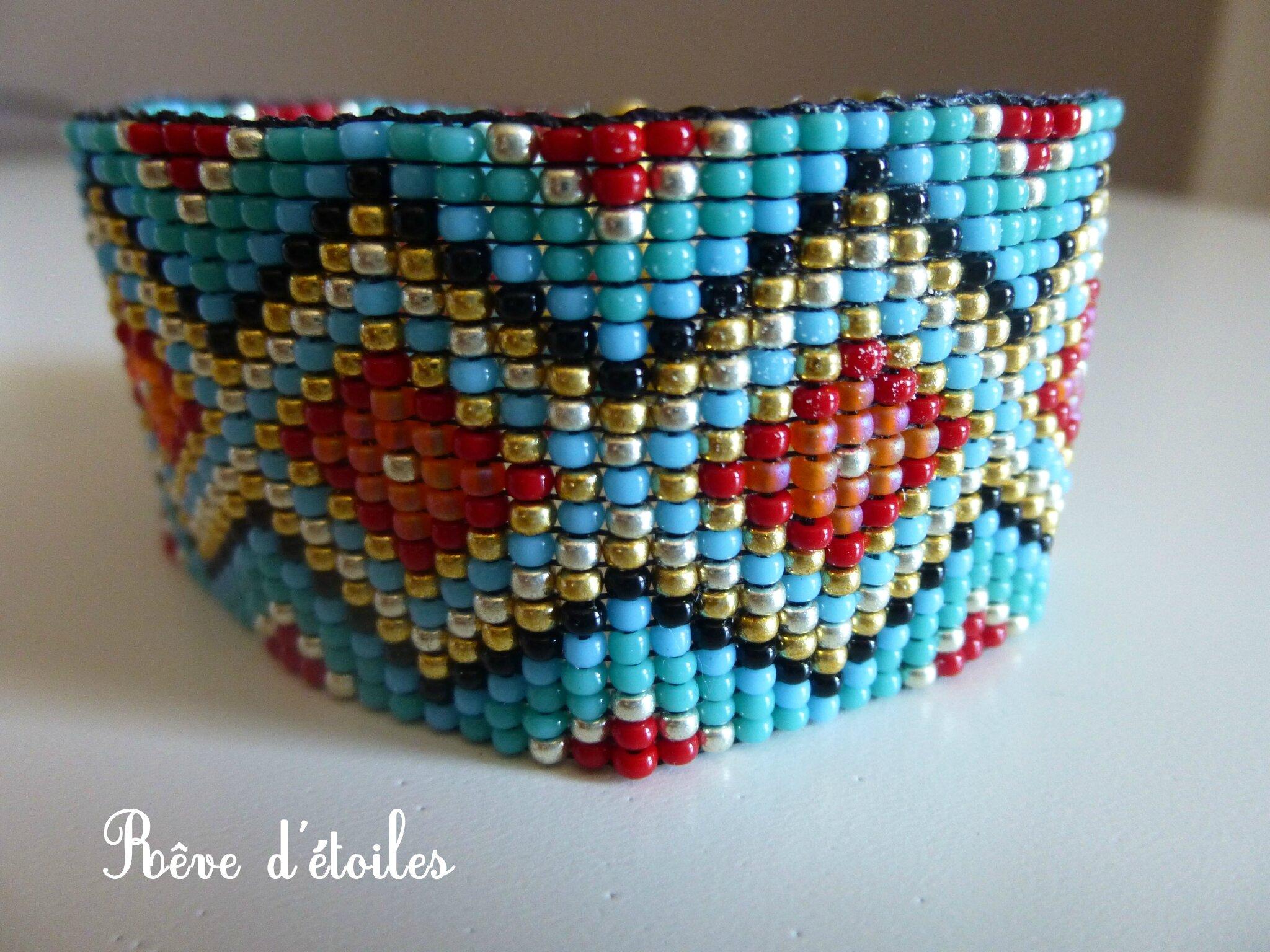 Turbo Bracelet tissage perles de rocailles - Rêve d' étoiles CJ14