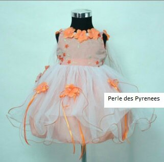 """robe de soirée """"Acanthe"""" fillette orange taille 24 mois neuve"""