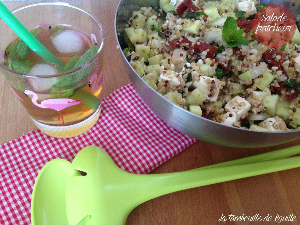 Salade fraîcheur quinoa, boulgour, concombre, feta, tomates séchées, menthe et citron vert