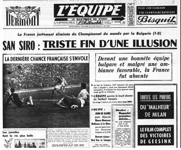 1961 Une du journal L'Equipe
