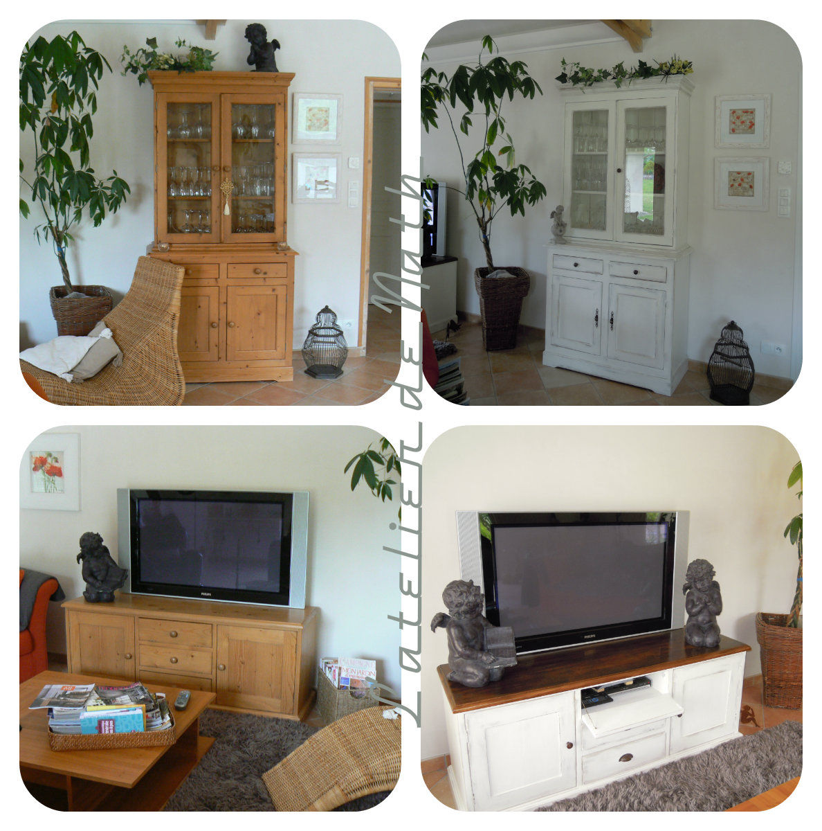Buffet et meuble tv en pin photo de meubles relook s for Meuble tv pin