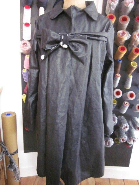 Ciré en lin enduit noir et noeud en lin endruit et coton noir à gros pois blancs - taille 50 (3)