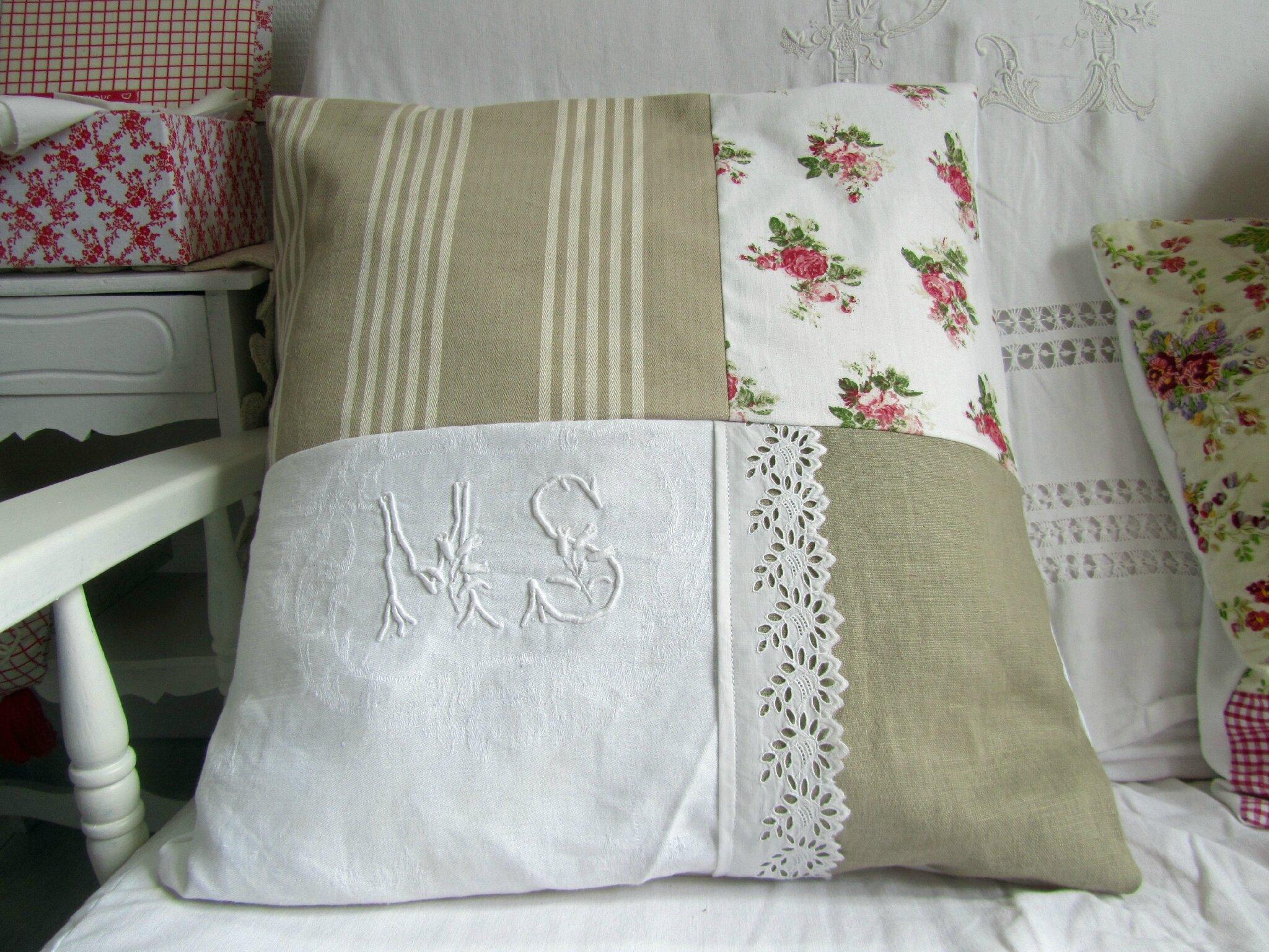 coussins shabby d houssables aliette creations. Black Bedroom Furniture Sets. Home Design Ideas