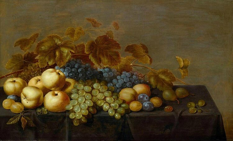 Floris Gerritsz van Schooten, A fruit still life with plums, apples, grapes and pears on a table