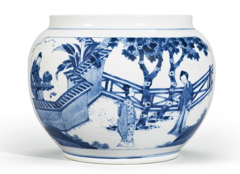 A blue and white 'Xixiang ji' jar, Qing dynasty, Kangxi period (1662-1722)