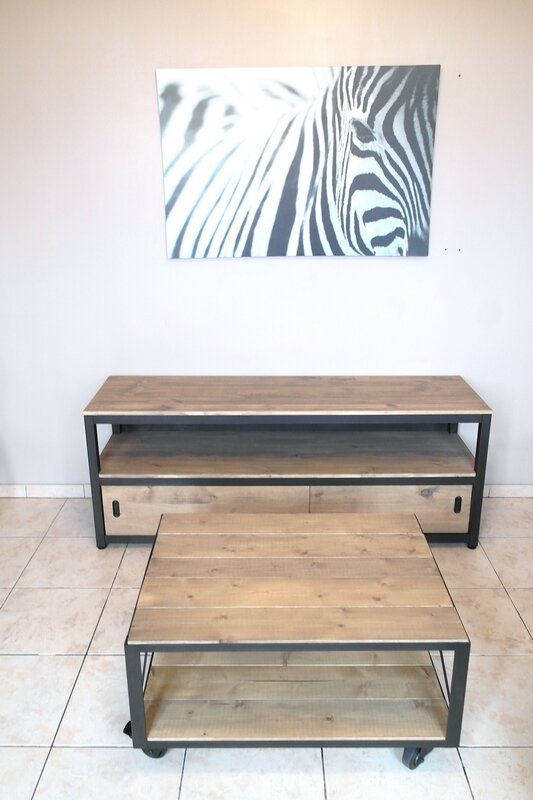 Ensemble meuble tv et table basse l 39 atelier broc loft for Ensemble meuble tv et table de salon