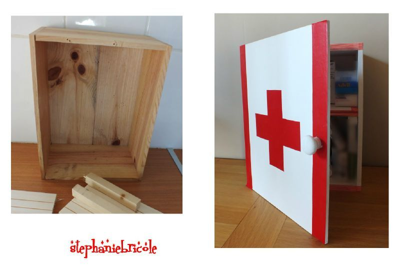 diy d co r cup faire une armoire pharmacie avec une caisse en bois st phanie bricole. Black Bedroom Furniture Sets. Home Design Ideas