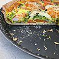 Tarte aux légumes et crevettes à la farine d'épeautre