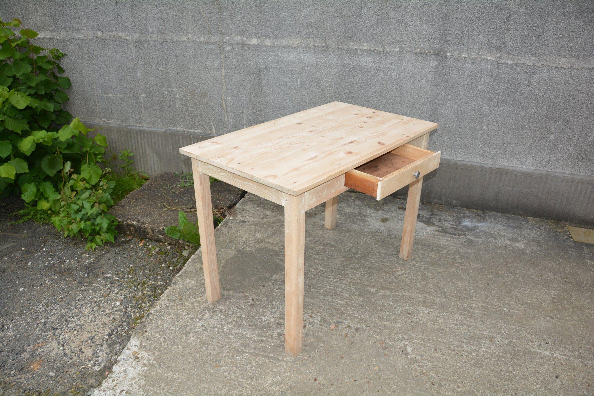 table de ferme bureau console poign e en aluminium la petite brocanteuse. Black Bedroom Furniture Sets. Home Design Ideas