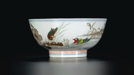 A_FAMILLE_VERTE_BOWL_WITH_MANDARIN_DUCKS