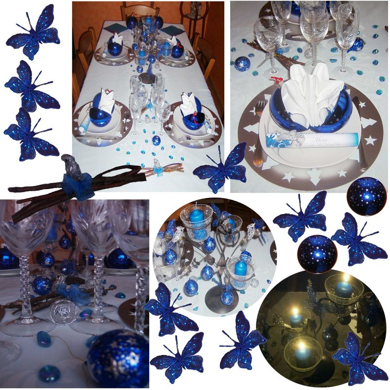 Decoration table noel bleu et argent for Deco table noel bleu et blanc