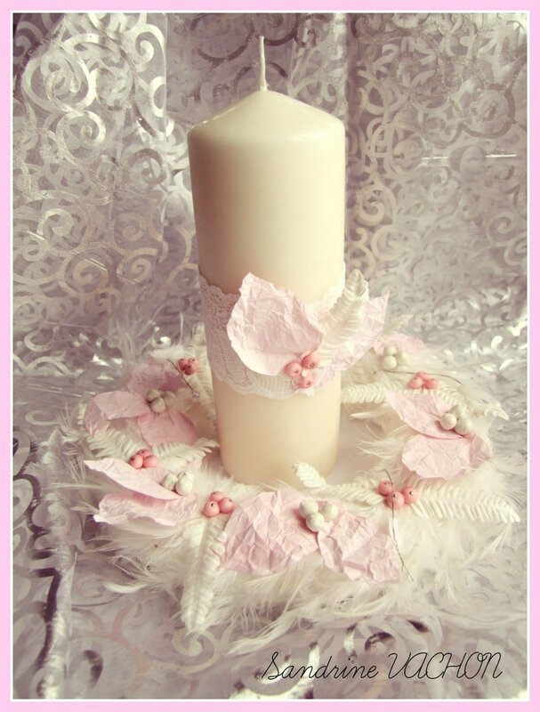 Bougie de no l en rose et blanc le scrap de sandrine vachon for Decoration de noel rose