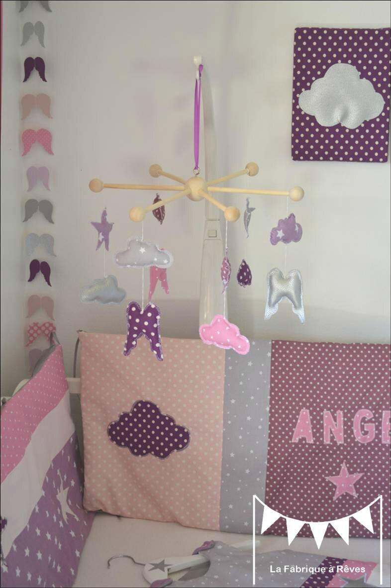 Mobile toiles ailes ange nuage d coration chambre b b for Decoration chambre de bebe fille
