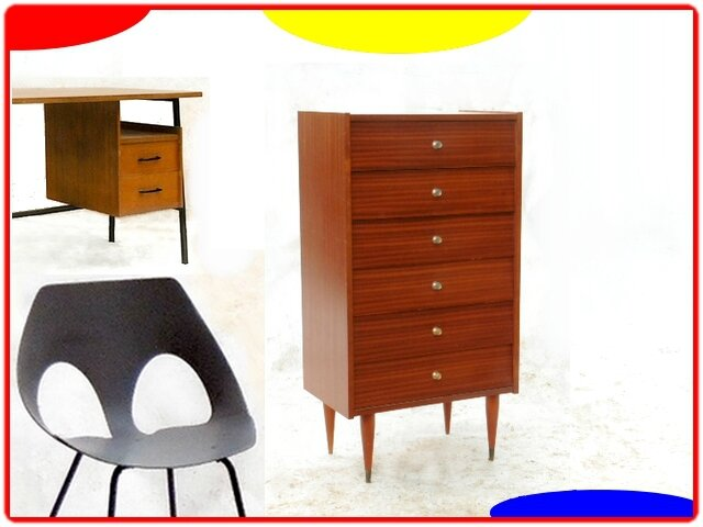 chiffonnier vintage annees 1970 meubles et d coration vintage design scandinave. Black Bedroom Furniture Sets. Home Design Ideas