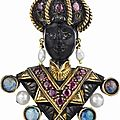 NARDI. A Ruby, Opal and Cultured Pearl Blackamoor Brooch