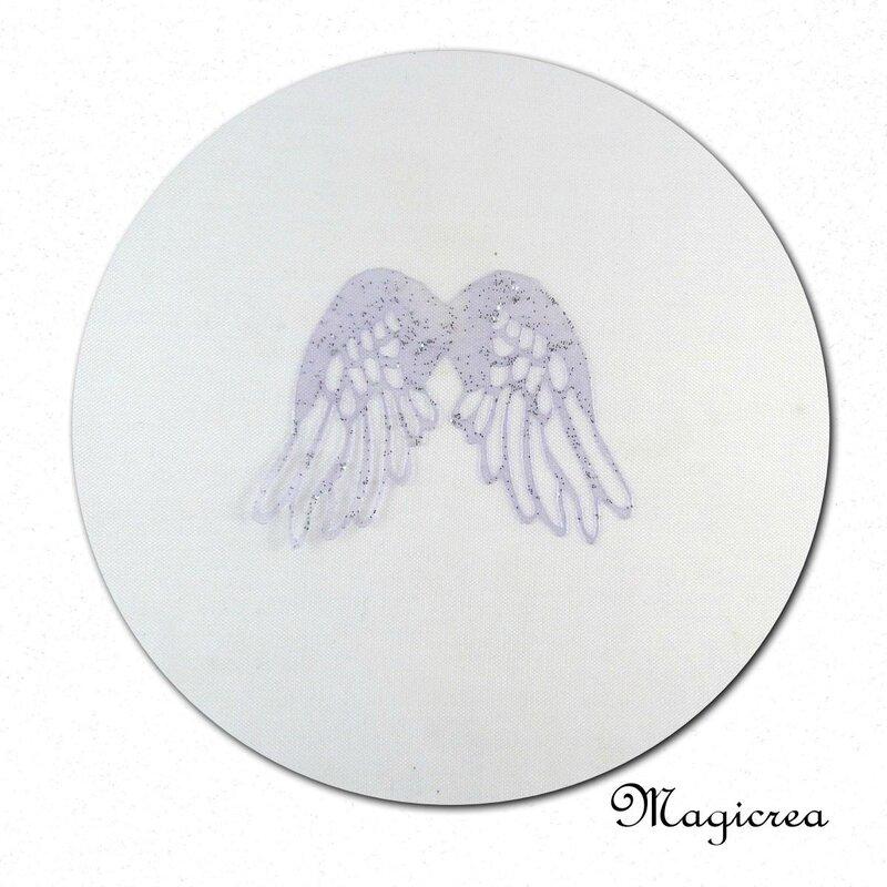 ailes anges parme pailleté argenté