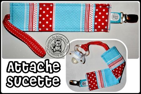 attache sucette bleu rt rouge pois