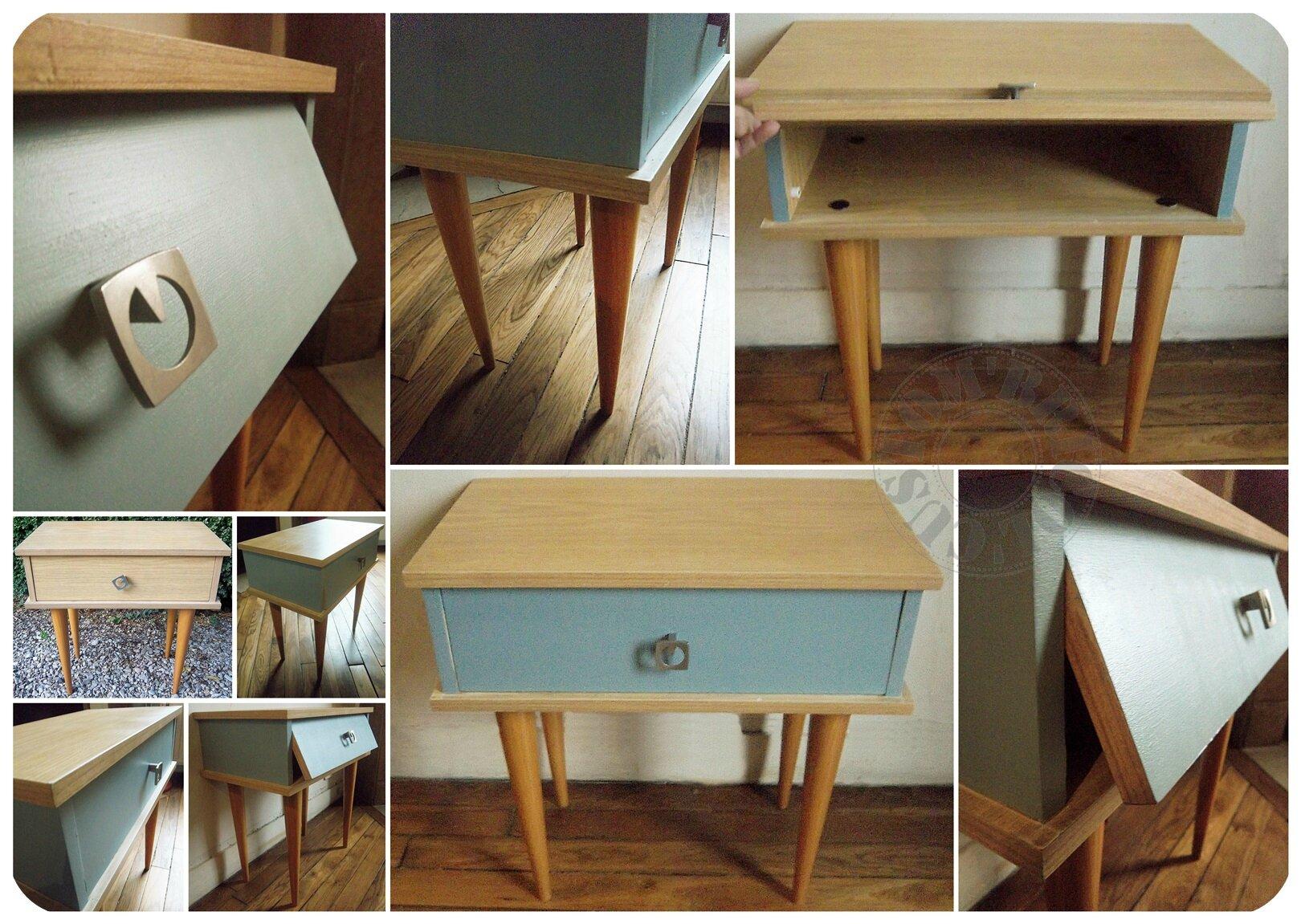 Chevet vintage bleu - montage