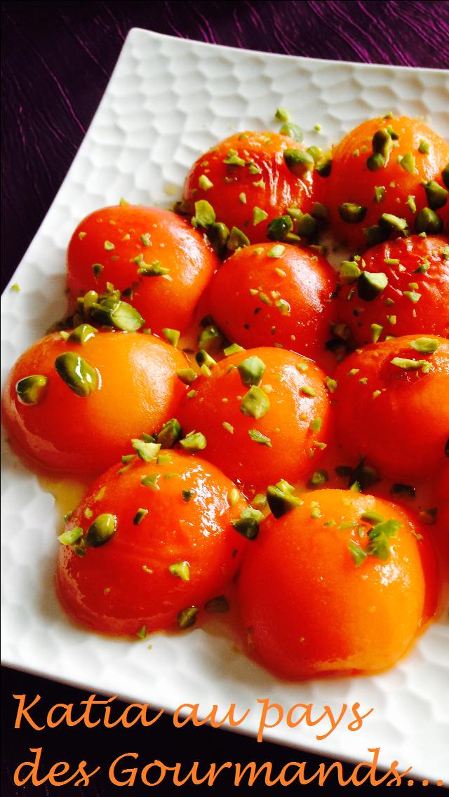Abricots rotis au miel de citron vert et éclats de pistaches