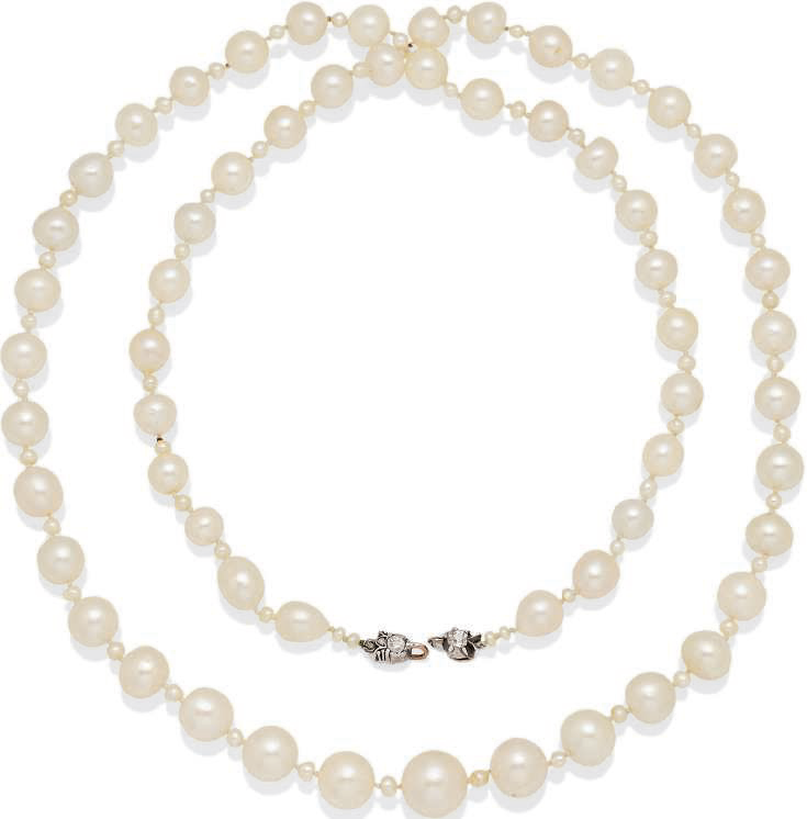 Sautoir perles fines, perles de culture et diamants
