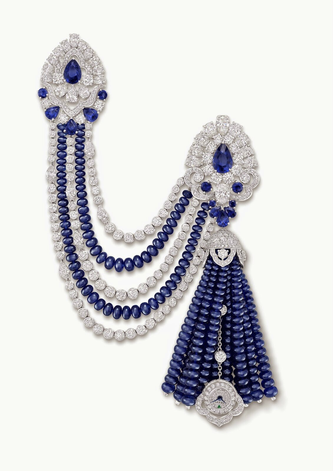 Graff Sapphire and Diamond Beaded Tassel Secret Watch for Baselworld 2015