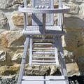 Ancienne chaise haute enfant pliante cannelee
