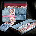 Un joli liberty ... du jean ... une série de pochettes coordonnées