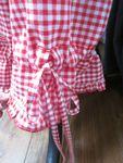 Panty en coton vichy rouge et blanc - taille élastique - lien de serrage au bas (7)