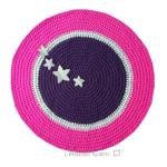 tapis-rond-crochet-aubergine-gris-clair-rose-etoiles