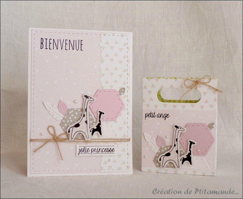 Ensemble naissance carte et sac girafe fillette
