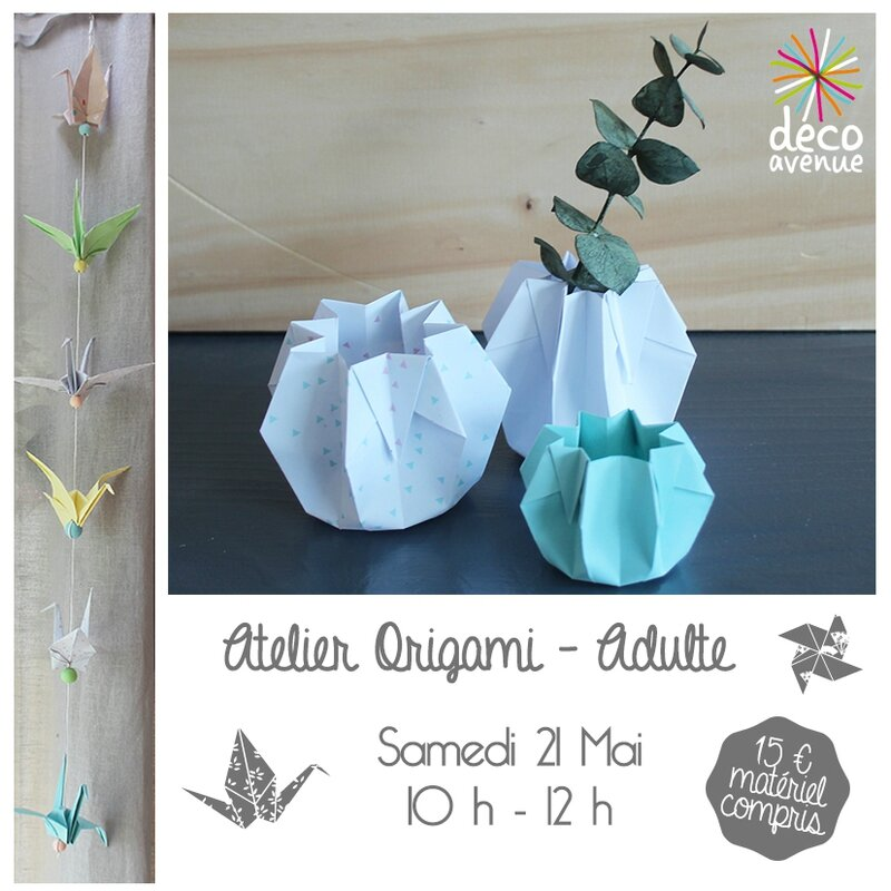 origami adultes grue et pot