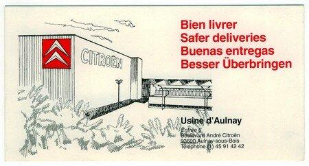 © 1992 François-Noël TISSOT Une Identité Pour Demain ® Aulnay-sous-Bois PSA CITROEN Orientation des Livraisons
