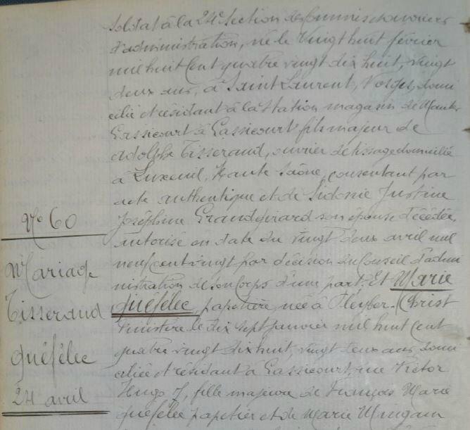 1920 le 24 avril mariage de Marie Quefelec et Emile Tisserand_2