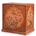 A rare tianqi and qiangjin lacquer rectangular cabinet, late ming dynasty