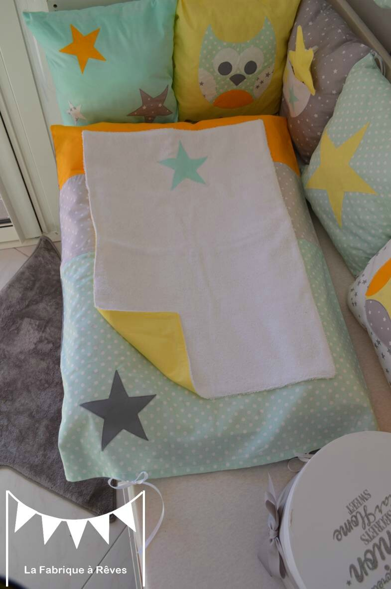 housse matelas langer b b gar on fille jaune vert d 39 eau blanc gris toiles hibou chouette. Black Bedroom Furniture Sets. Home Design Ideas