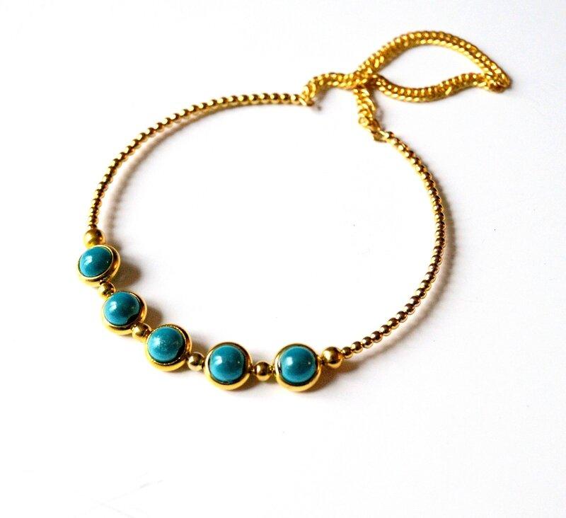 Bracelet jonc doré et perles magiques turquoise1