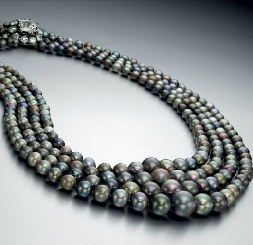 A magnificent and rare natural colored pearl and diamond necklace