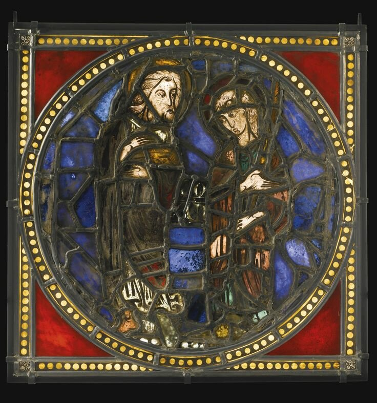 French, circa 1215 and later, Window with St. John The Evangelist and an apostle