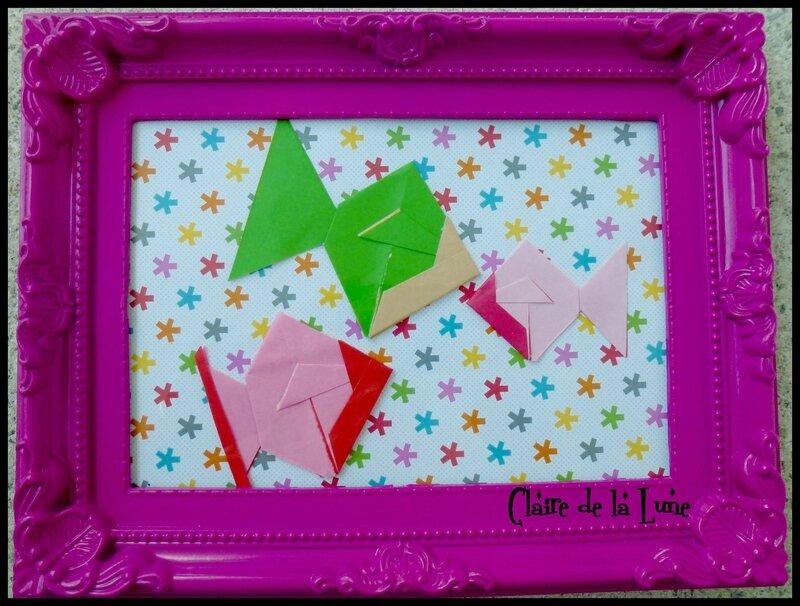 Cadre origami poissons