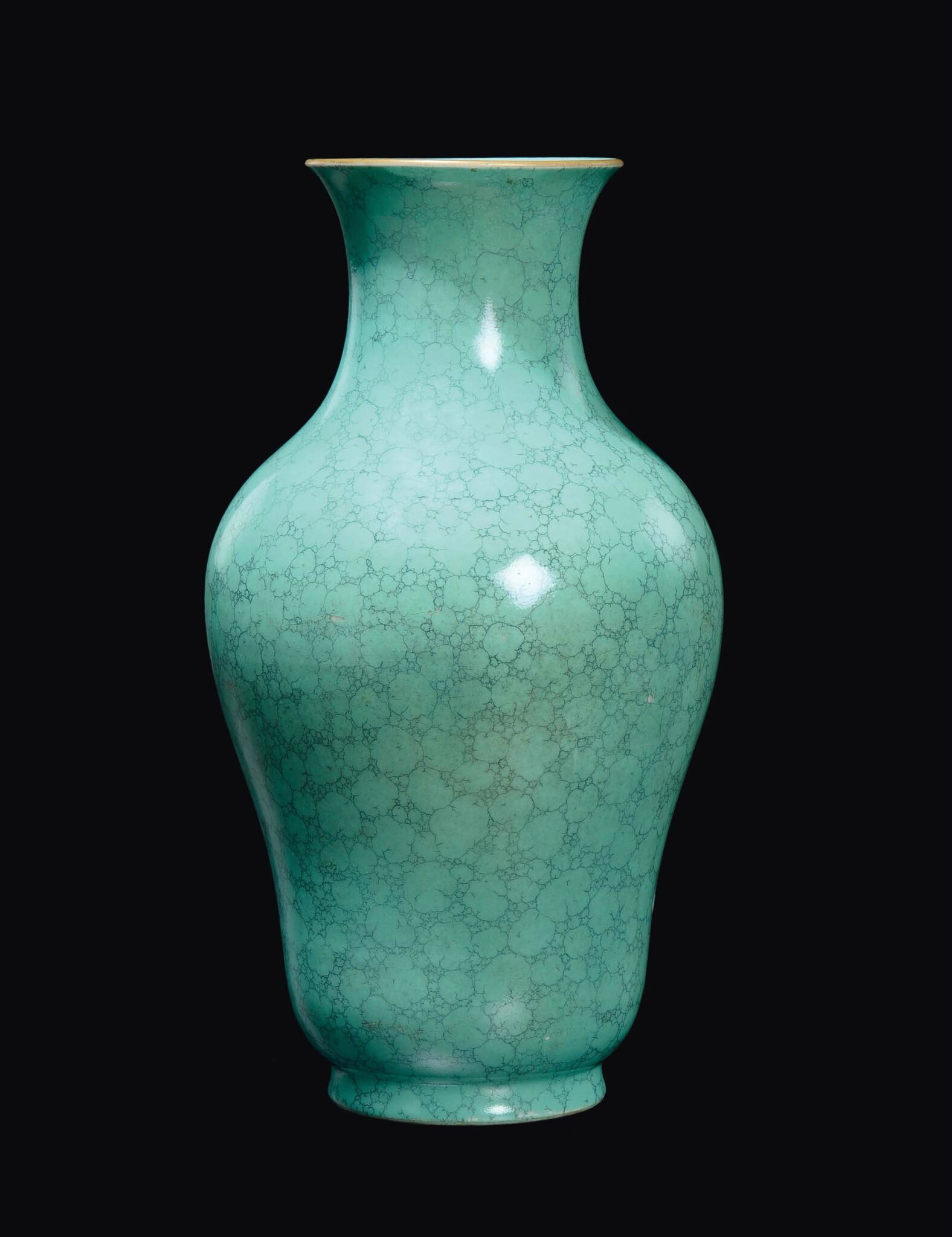 A turquoise enamelled porcelain vase, China, Qing Dynasty, Qianlong Mark and Period (1736-1795)