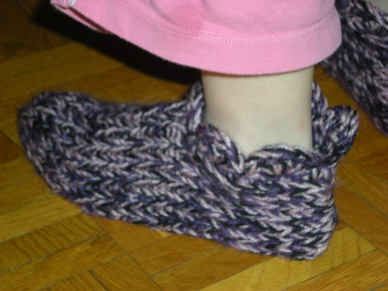 chaussons tricot +crochet